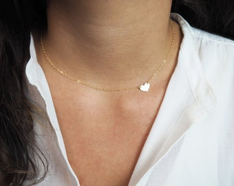 Gold Heart Necklace, Sideways Heart Necklace, Gift For Her, Valentines Day Gift