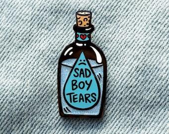 Sad Boy Tears Emo Glitter Enamel Pin