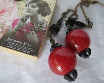 Deocrative Chain Pull Pair with Red and Black Vintage Acrylic Beads and Antiqued Brass Accents