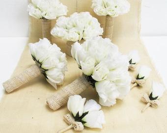 Wedding flowers etsy wedding bouquet set 9 pieces set white silk roses bleached burlap lace bouquet rose flowers bouquet wedding flowers elegant wedding set mightylinksfo
