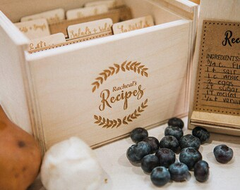 5x7 - Wood Recipe Box with recipe stand (box only does not included dividers or recipe cards)