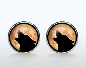 Moonlight wolf cufflinks Silver plated Midnight wolf cuff links Accessories for men and women jewelry moon black yellow