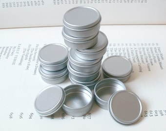10ml Small Metal Tins, Blank Round (Set Of 12) Silver Color