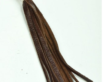 All natural leather Tassel pendant five inches, each