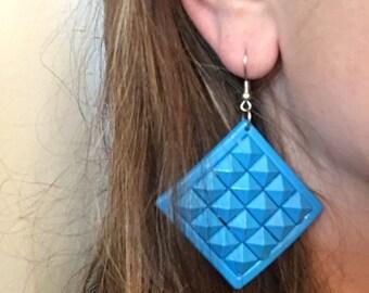 Large Vintage Blue Plastic Dangle Earrings Mid Century Jewelry Geometric Drop Earrings