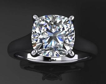 katya ring - 1.7 carat cushion cut NEO moissanite engagement ring, cushion moissanite ring
