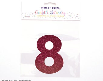 Pink Glitter 8 Decal Eighth 8th Birthday Shirt Iron On Transfer Red Eight | GLITTER