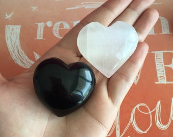 Crystal Protection Hearts Set charged w/ Reiki / Girlfriend Gift