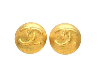 Authentic vintage Chanel earrings gold CC round #ea2001