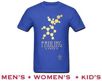 Chemistry Shirt. Linus Pauling Rock Star Scientist Tshirt, Science Gift.  Chemistry Teacher Present. Geek Gift. Science Art Illustration
