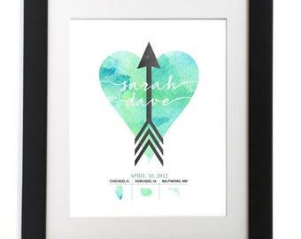 Custom Heart Arrow Print