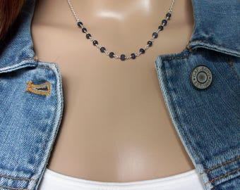 Sapphire Necklace/Sapphire Beaded Chain/Deep Blue Sapphire Srerling Silver Chain/Sapphire Silver Beaded Chain/September Birthstone/N0845