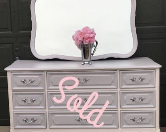 SOLD Gray and White French Provincial Dresser/Buffet with Mirror