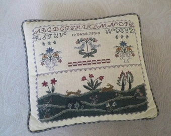 Vintage Home Decor Sampler Homespun Pillow