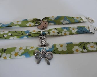 Liberty fabric girl flowers and charm bracelet
