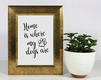 Home Is Where My Dogs Are | Instant Download Printable Wall Art | Dog Lover Prints | Printable Art | Funny Prints | Home Decor Wall Art