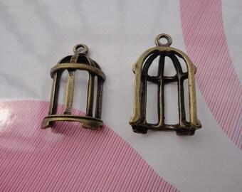 10pcs antique bronze bird cage findings 30mmx15mm