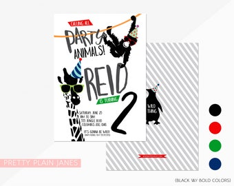 "Party Animal Birthday Invitation | Zoo Birthday Invitation | Party Animal Printable - 5X7 with *bonus reverse side"""
