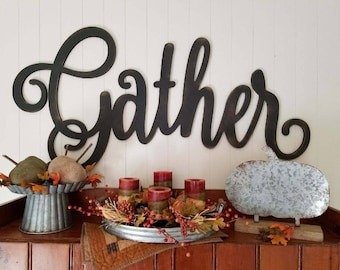 Gather (uppercase G) Script Cutout Sign (Medium)