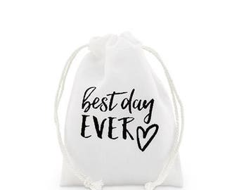 White Linen Drawstring Wedding Favour Bag - 2 sizes - Pack of 12