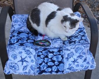 Cat Bed, Blue Cat Bed, Cat Blanket, Handmade Pet Bedding, Pet Bedding, Pet Supplies, Pet Blankets, Luxury Pet Bed, Fabric Pet Bed, Dog Beds