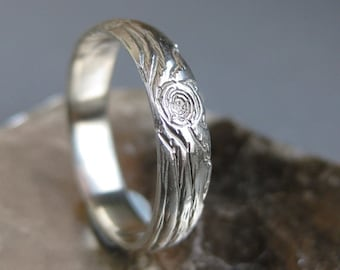 wood wedding band 14kt white GOLD woodgrain ring THIN PLYWOOD ready to ship