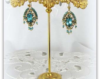 Aqua Blue Rhinestone Drop Earrings restyled from Vintage & New Pieces