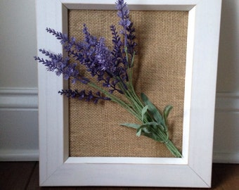 French Cottage Chic Wall Decor, Rustic Wall Decor, Lavender Burlap Wall Decor in Timeles Wooden Frame