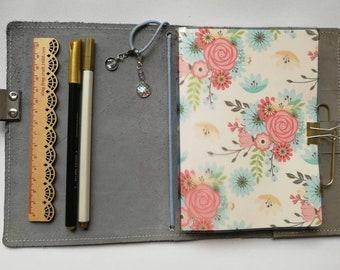 Vellum Pink Floral Dashboard for Travelers Notebook, Midori Fauxdori insert