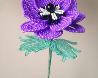Lilac anemone made of beads