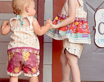 Baby Tammy's Tulip and ruffle reversible shorts . PDF sewing patterns for baby sizes NB-24 months