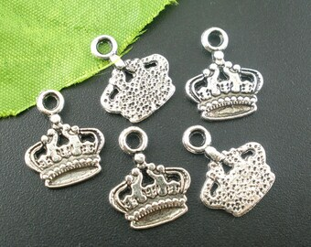 5 Pieces Antique Silver Crown Charms