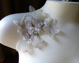 Beige Beaded Lace Flower Applique for Lyrical Dance, Ballet, Bridal, Garments, Costumes  CA 615beige