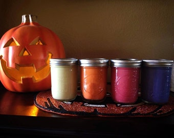 Fall candles 8 oz.  Ball Mason Jar Candle made with 100% Soy wax.   Chrislan Candles