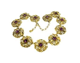 Vintage 1980s Necklace | Rhinestone Necklace | Purple Necklace | Gold Tone Necklace | Statement Necklace | Collar Necklace | Large Necklace