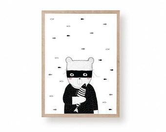 Bear Illustration, Nursery Art, Kids Room Art, Bandit Bear