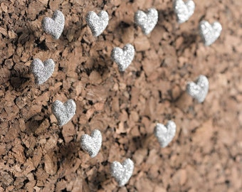 Valentine's Day Glitter Heart Map Push Pins in Silver. Office Bulletin Board Organization. Gift for Weddings Bridal, Baby Showers Set of 12