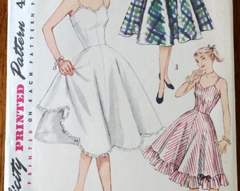 Vintage 1950's Simplicity #3766 - Junior and Misses Slip and Petticoat - Size 14, Bust 32