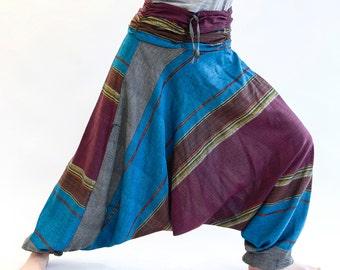 Harem pants unisex, cotton, gold, turquoise bordeaux threads