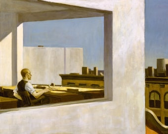 Office in a Small City by Edward Hopper Home Decor Wall Decor Giclee Art Print Poster A4 A3 A2 Large Print FLAT RATE SHIPPING