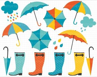 Clipart - Rainy Day (Boy) / Weather,  Blue Umbrellas - Digital Clip Art (Instant Download)