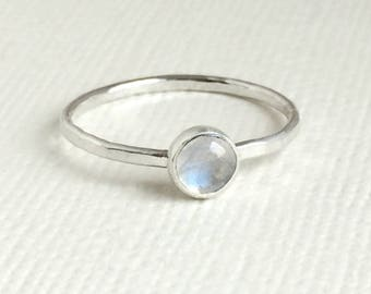 Rainbow Moonstone Ring - Sterling Silver - Moonstone Stackable Rings - Gemstone Rings for women - Dainty Ring