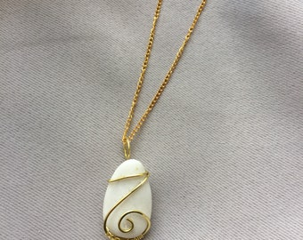 Greek White Marble Necklace w/Ring