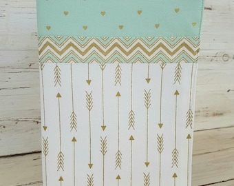 A5 Journal cover - a5 fabric book cover - Fabric Covered Notebook - A4 exercise book cover - art journal cover - Golden Arrows Collection