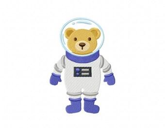 Space bear astronaut embroidery design