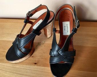 Lanvin black strappy gladiator sandals leather cork platform high heels!