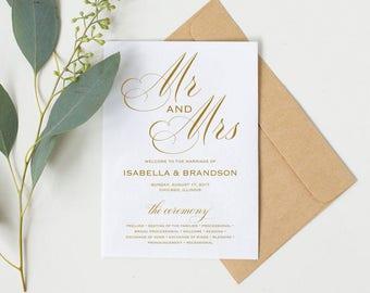 Gold Wedding Program Template, Rustic Wedding Ceremony Program, Instant Download PDF template, Kraft Wedding Program, WPC_607