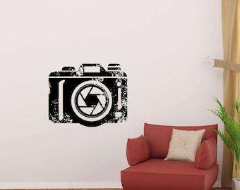 Photo Camera Wall Decal Photography Photographer Focus Lens Studio Salon Logo Vinyl Sticker Home Decor Poster Art Mural Custom Print 247