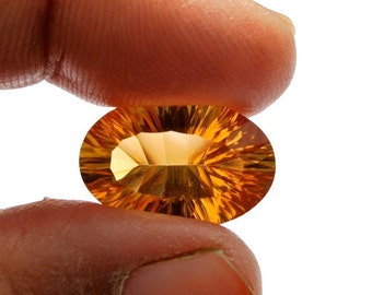 High Quality Loop Clean 10.20 CTW Natural Golden Citrine Concave Cut Oval Shape Gem Size 18x12x9mm approx