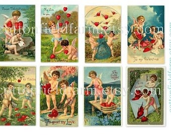 Vintage Valentines Digital Collage Sheets Cupids Blue Flowers Red Hearts C-103  Two sheets